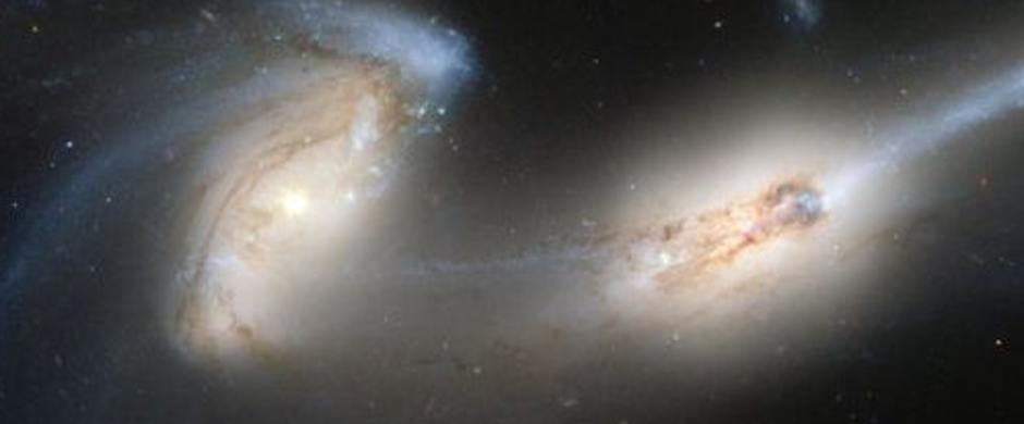 Two galaxies in the midst of colliding.