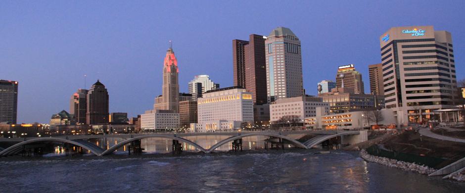 The Columbus skyline at dusk.